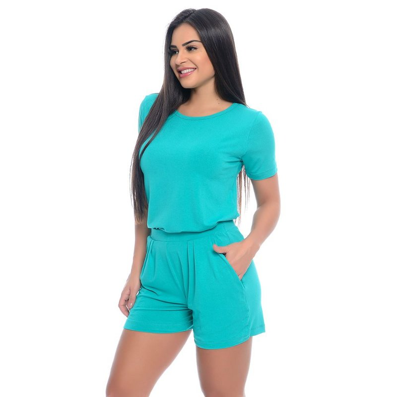 Conjunto Shorts e Baby Look B'Bonnie Verde Jade