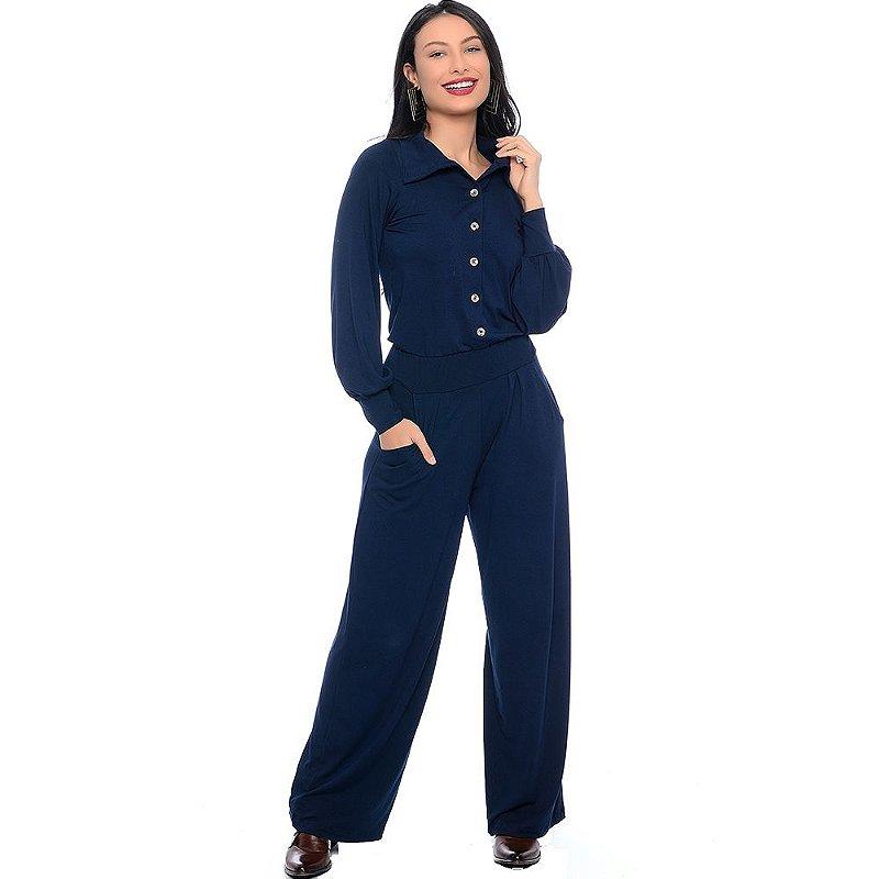 Macacão Pantalona Manga Longa com Botões Gola e Bolsos B'Bonnie Azul Marinho