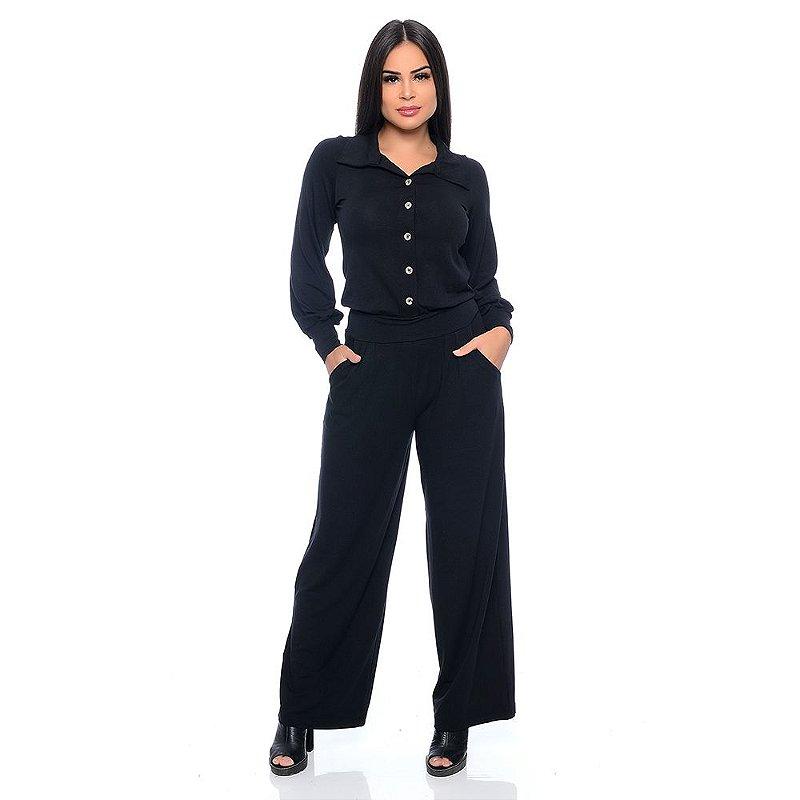 Macacão Pantalona Manga Longa com Botões Gola e Bolsos B'Bonnie Preto
