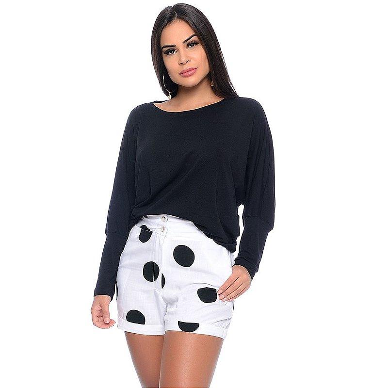 Shorts Feminino Cintura Alta Com Bolsos Barra Dobrada e Botões B'Bonnie Branco Poá