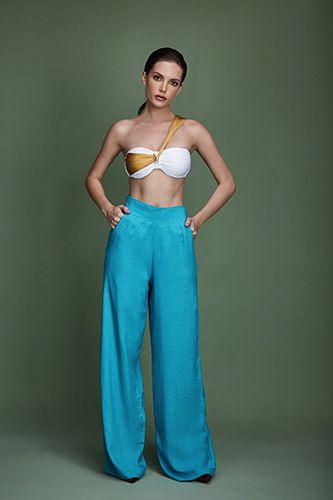 Calça linho pantalona azul - VARIANTE UNICA
