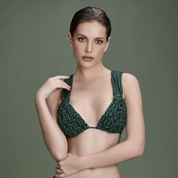 Biquíni cortininha macramê verde calcinha tiras lateral - VARIANTE UNICA