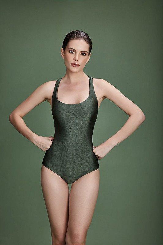 Maiô nadador tiras costas verde - VARIANTE UNICA