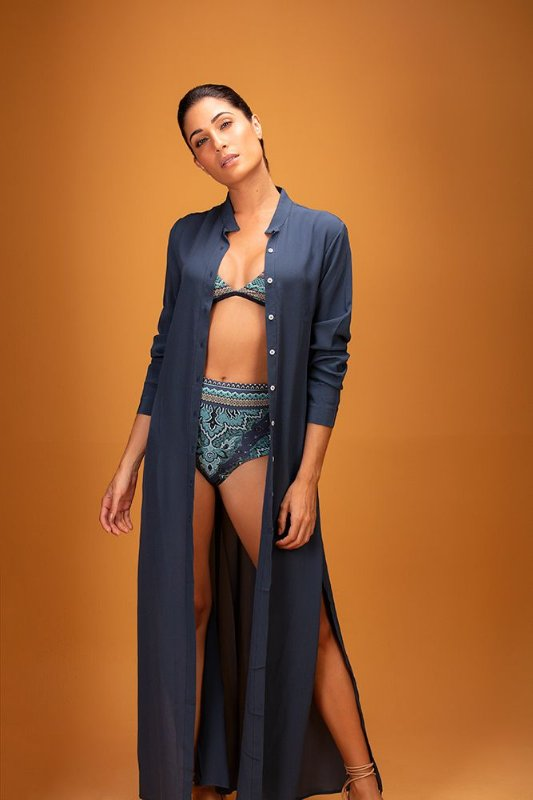 chemise longa marinho seda - VARIANTE UNICA