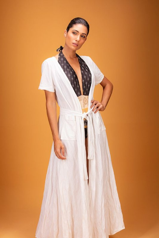 Vestido transpassado branco - VARIANTE UNICA