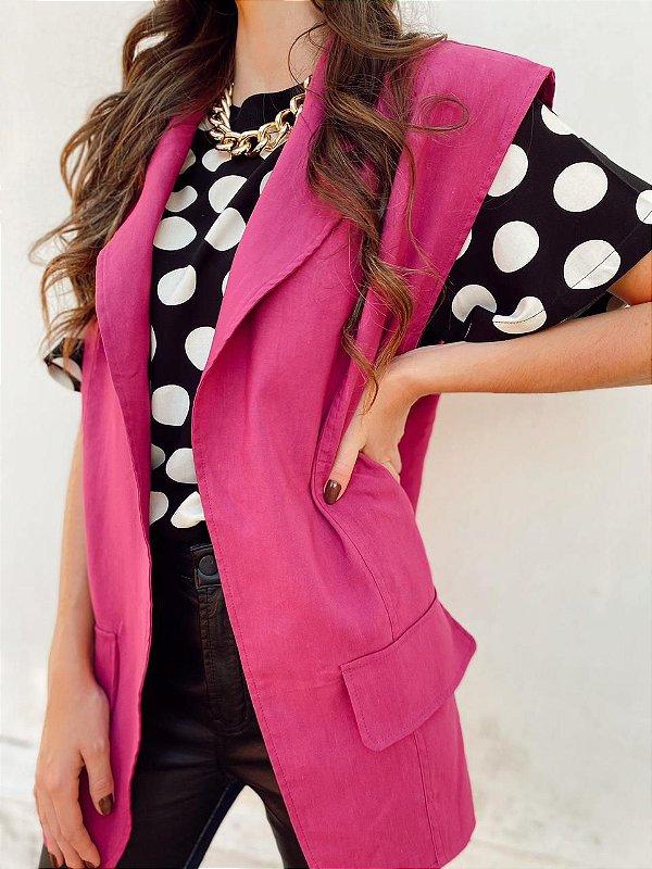 Colete linho pink Open
