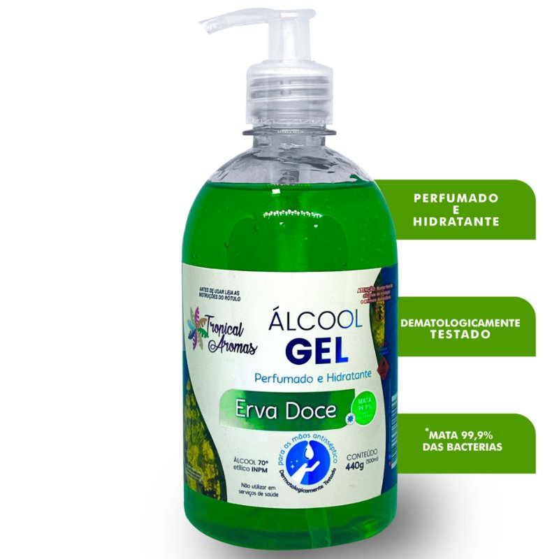 Álcool Gel Perfumado Erva Doce 500ml - Tropical Aromas