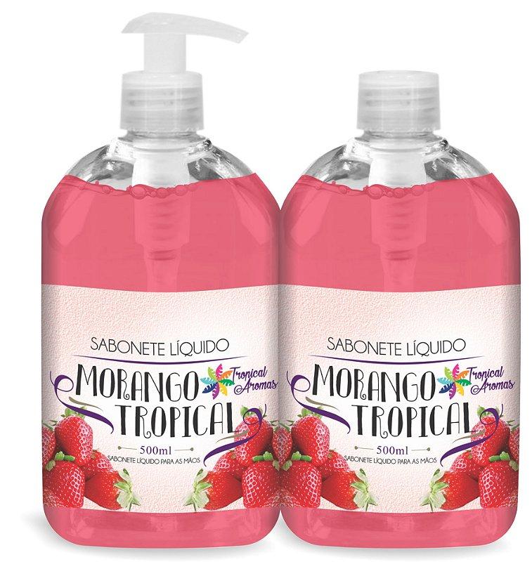 Kit Econômico 1 Sabonete Líquido c/ Válvula e 1 Refil Tropical Aromas Morango 500ml