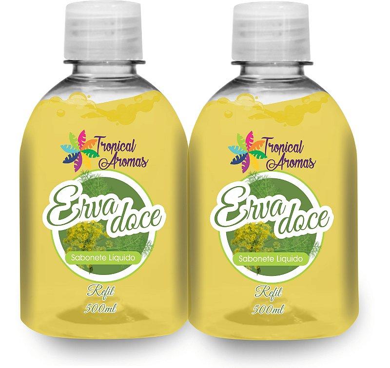 Kit Refil Sabonetes Líquido Erva Doce 500ml - Tropical Aromas