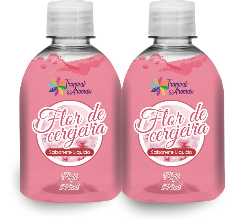 Kit Refil Sabonetes Líquido Flor de Cerejeira500ml - Tropical Aromas