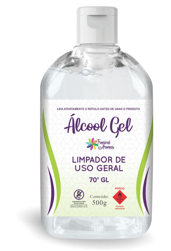 Álcool em Gel 70º 440GR/500ml Flip Top Tropical Aromas