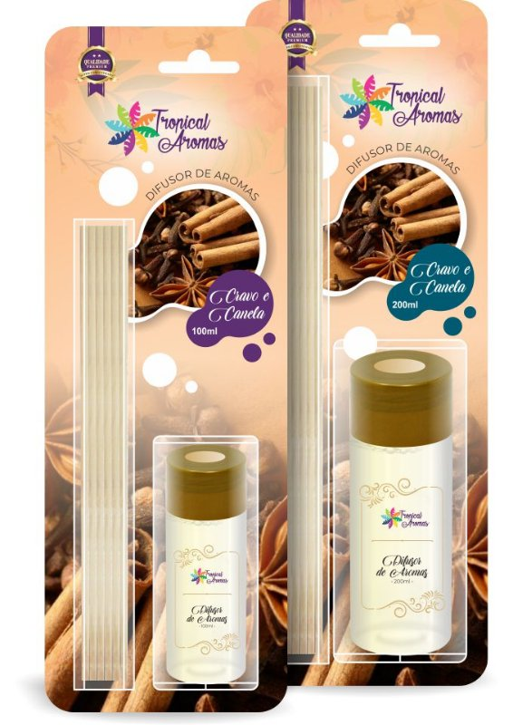 DIFUSOR TROPICAL AROMAS BLISTER CRAVO E CANELA 100 ML