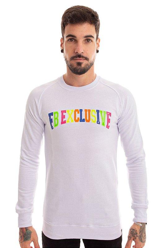 Blusa Moletom Raglan FB Colors Branca