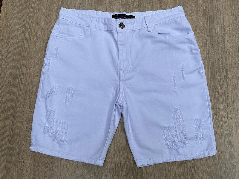 Bermuda Jeans Destroyed Branca 2