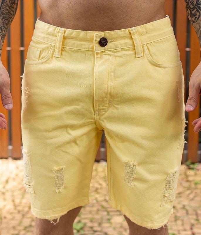 Bermuda Jeans Destroyed Canário