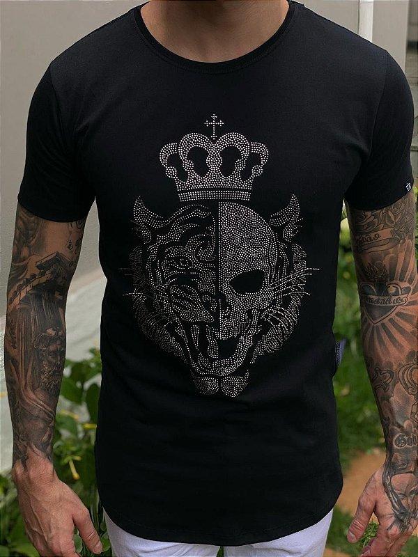 Camiseta Tiger Skull Strass
