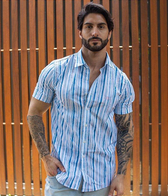Camisa Listras Finas Tie Dye
