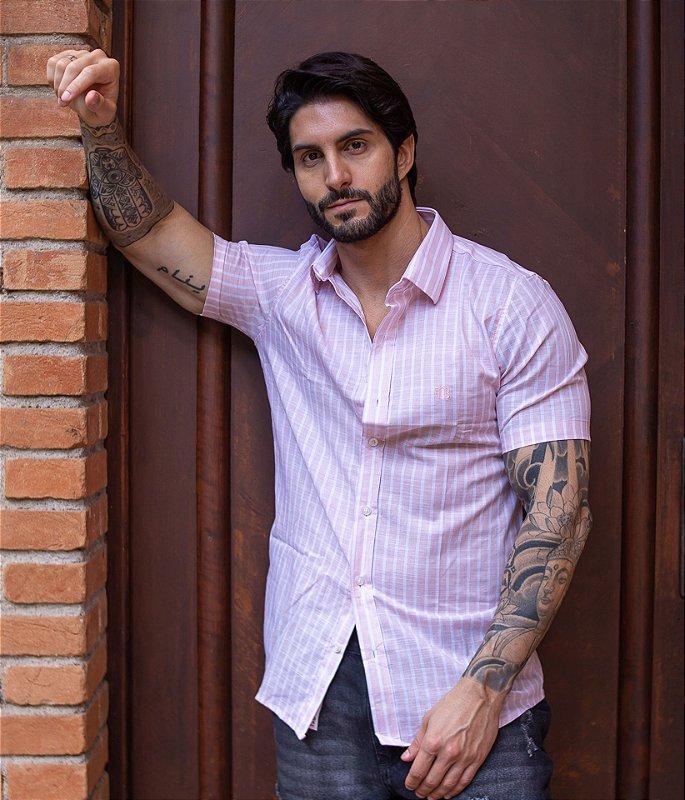 Camisa Listras Finas Rosa