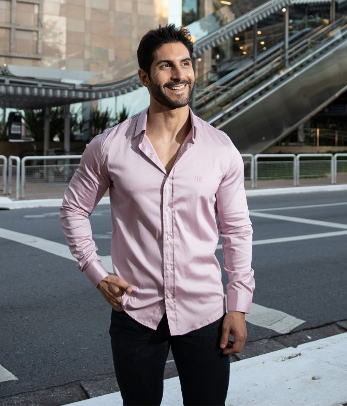 Camisa Rose Acetinado
