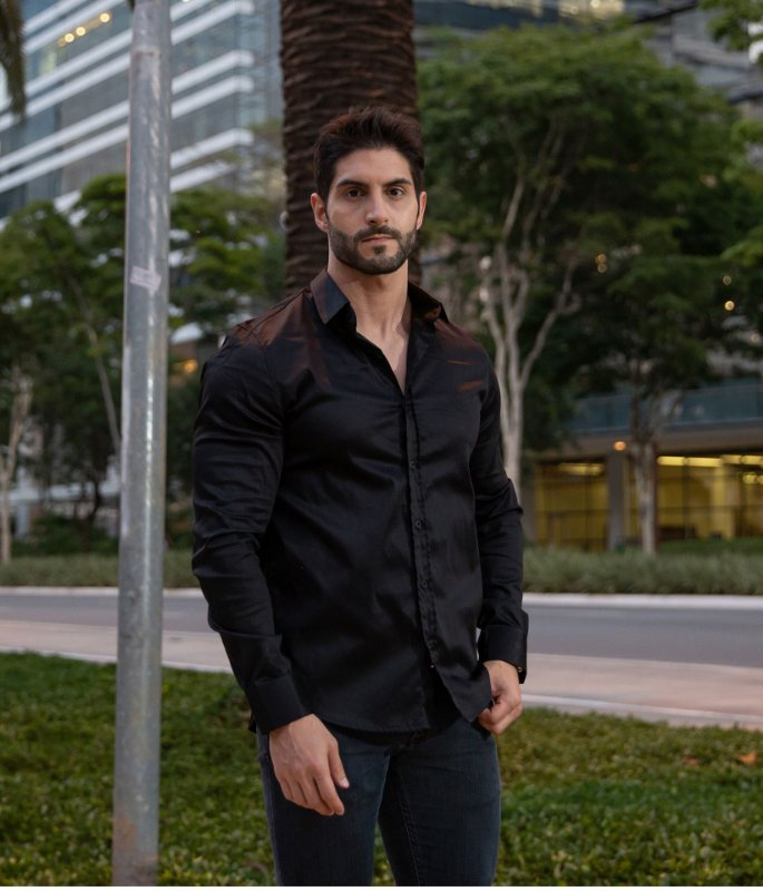 Camisa Preto Acetinado