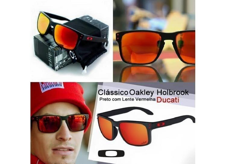 Oculos Oakley Holbrook preto com vermelho - Dalu Importados 7aac88ff5d