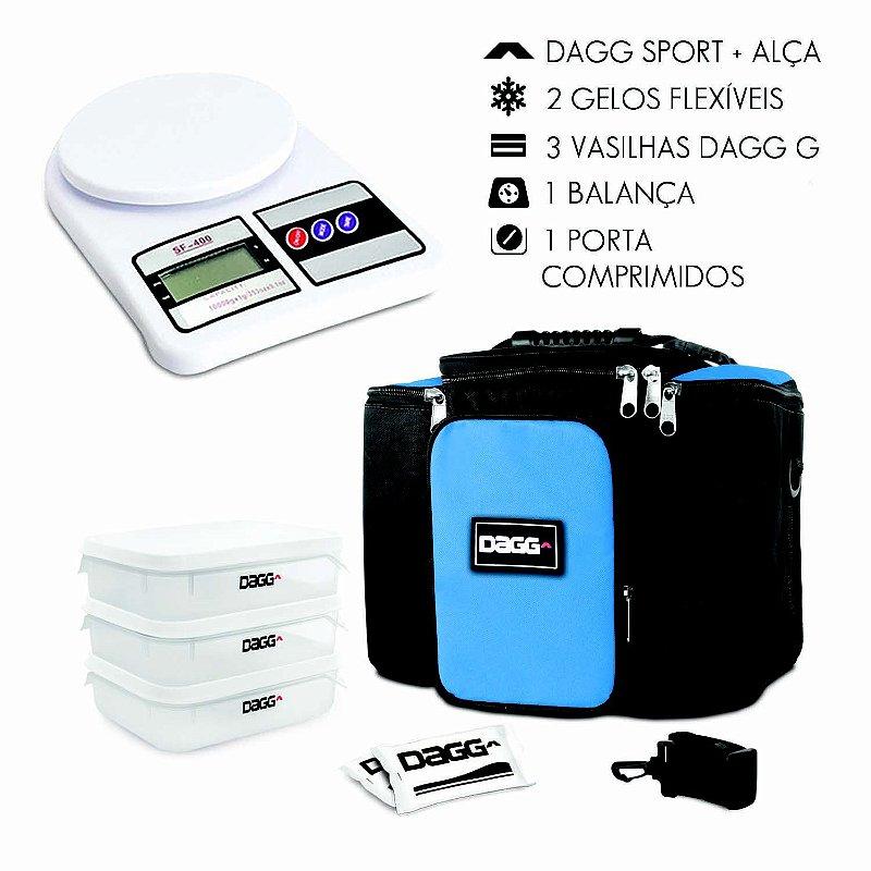 Kit Bolsa Térmica Fitness Azul Royal G + Balança Digital