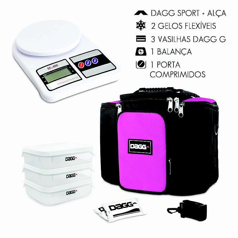 Kit Bolsa Térmica Fitness Rosa G + Balança Digital