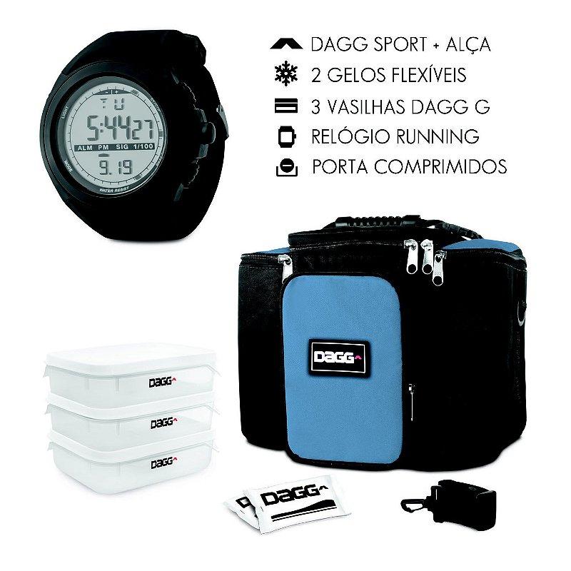 Kit Bolsa Térmica Fitness Azul Royal G + Relógio Dagg Running