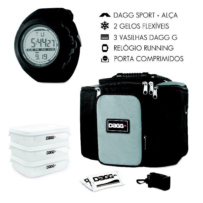 Kit Bolsa Térmica Fitness Cinza G + Relógio Dagg Running