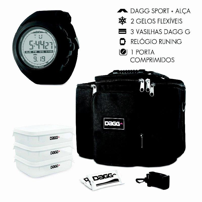 Kit Bolsa Térmica Fitness Preta G + Relógio Dagg Running