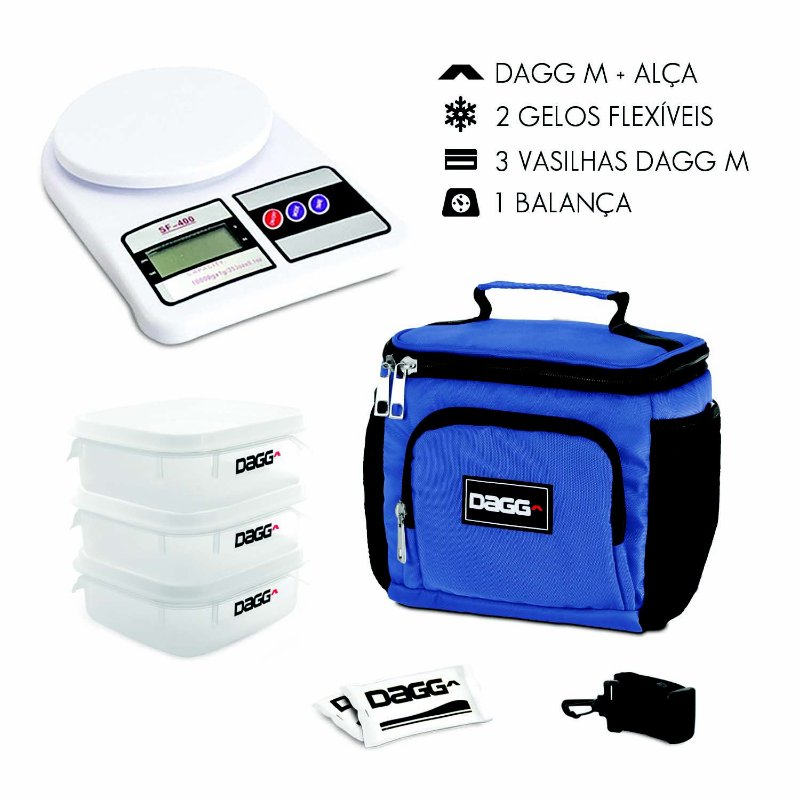 Kit Bolsa Térmica Fitness Azul Royal M + Balança Digital
