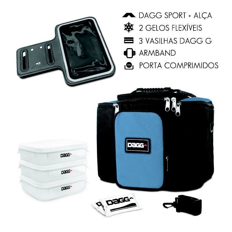 Kit Bolsa Térmica Fitness Azul Royal G + Braçadeira Dagg Armband