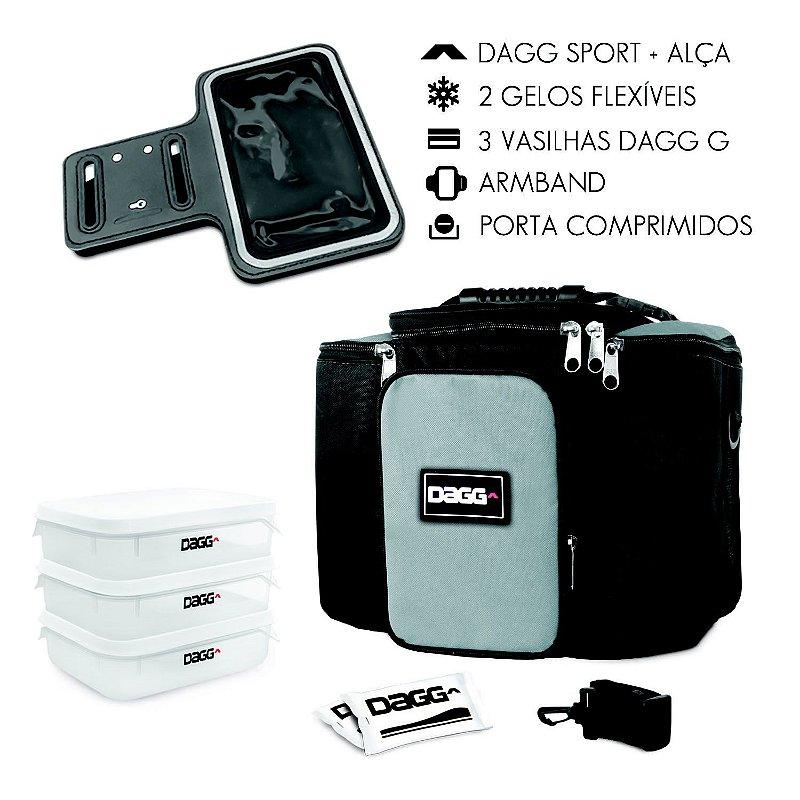 Kit Bolsa Térmica Fitness Cinza G + Braçadeira Dagg Armband