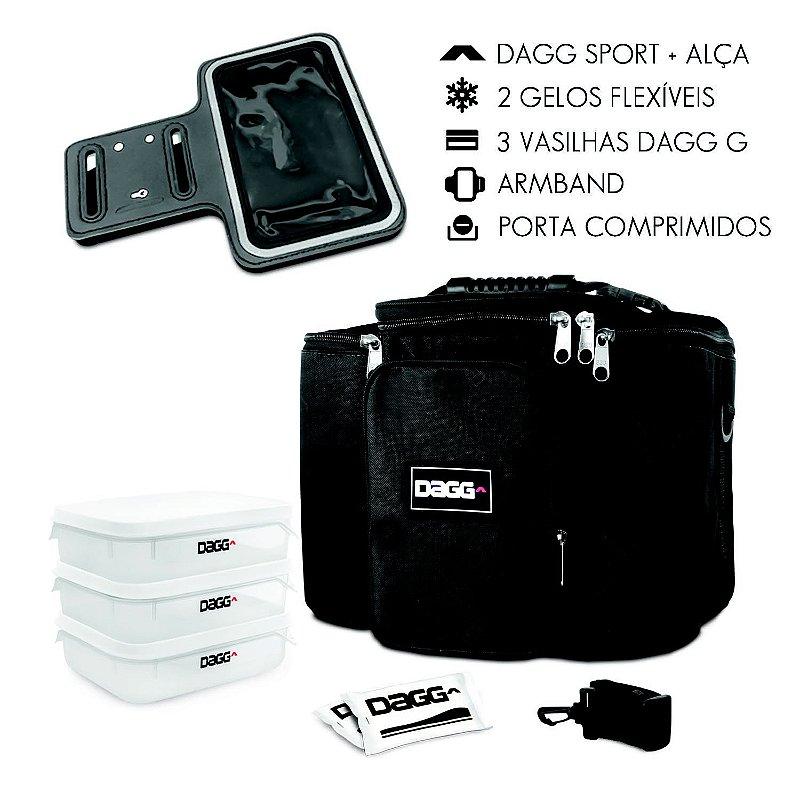 Kit Bolsa Térmica Fitness Preta G + Braçadeira Dagg Armband
