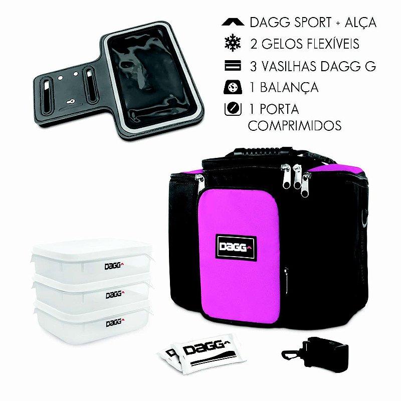 Kit Bolsa Térmica Fitness Rosa G + Braçadeira Dagg Armband