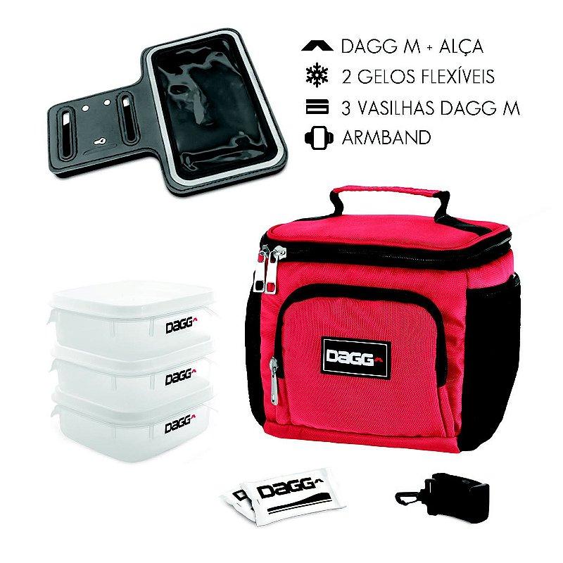 Kit Bolsa Térmica Fitness Vermelha M + Braçadeira Dagg Armband