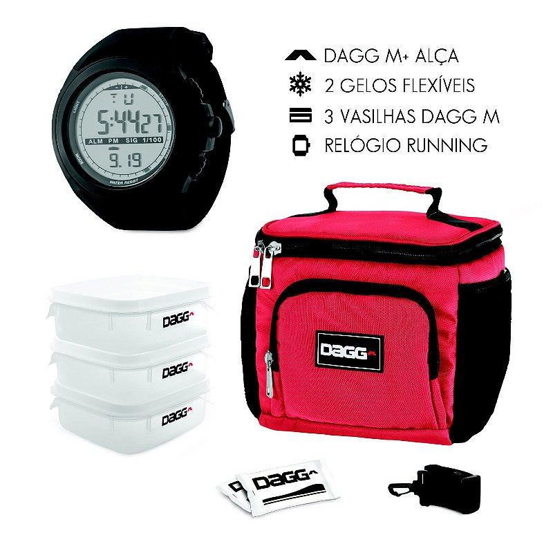 Kit Bolsa Térmica Fitness Vermelha M + Relógio Digital Dagg Running