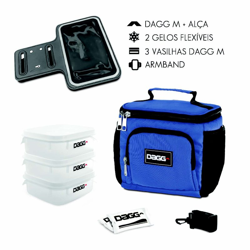 Kit Bolsa Térmica Fitness Azul Royal M + Braçadeira Dagg Armband