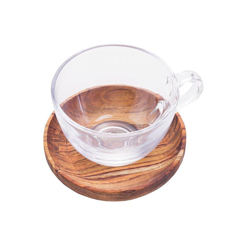 Conjunto de xícaras de chá com pires em Madeira Liptus