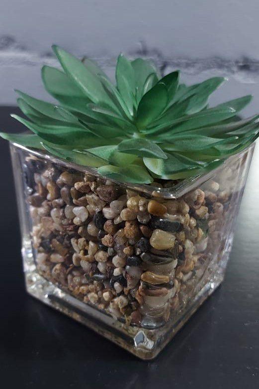 Vaso decorativo suculenta artificial