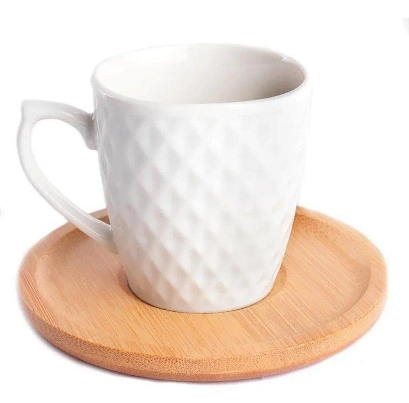 Jogo de xícara para café 90 ml de porcelana com pires em bambu - 12 pçs