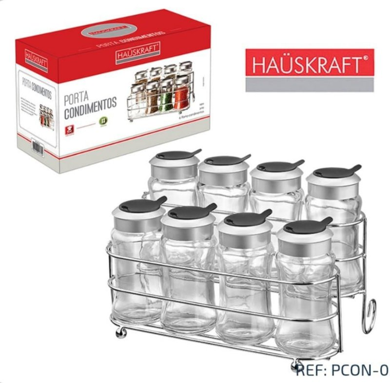 Porta Condimento com 8 pçs HAUSKRAFT