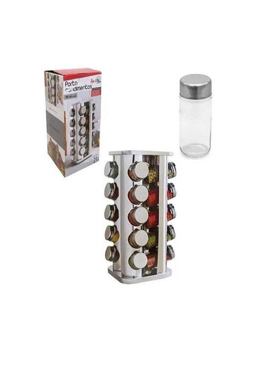 Porta condimento giratório com 20 potes de vidro