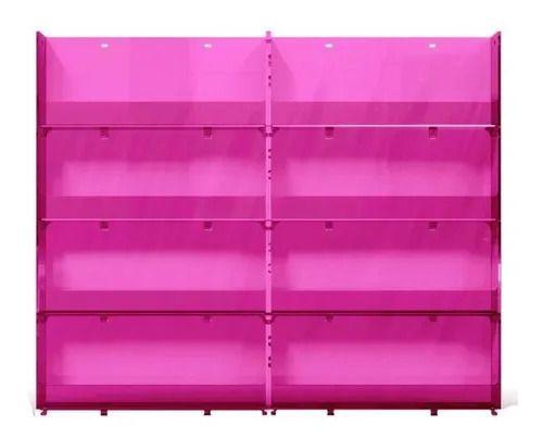 Expositor de Esmalte de parede Rosa pequeno com grade Santa Clara