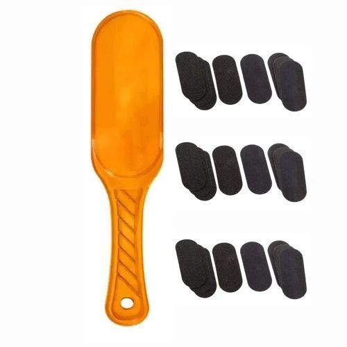 36 refil de lixa de pé descartável e 1 suporte de acrílico laranja Santa Clara