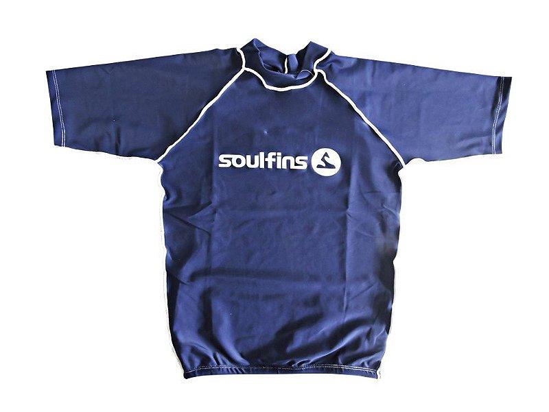 Camiseta de Lycra Soul Fins UV Protection 50+   Manga Curta Azul3 - Loja  Online Surf e Sup - Pranchas 7df9576d96e1d