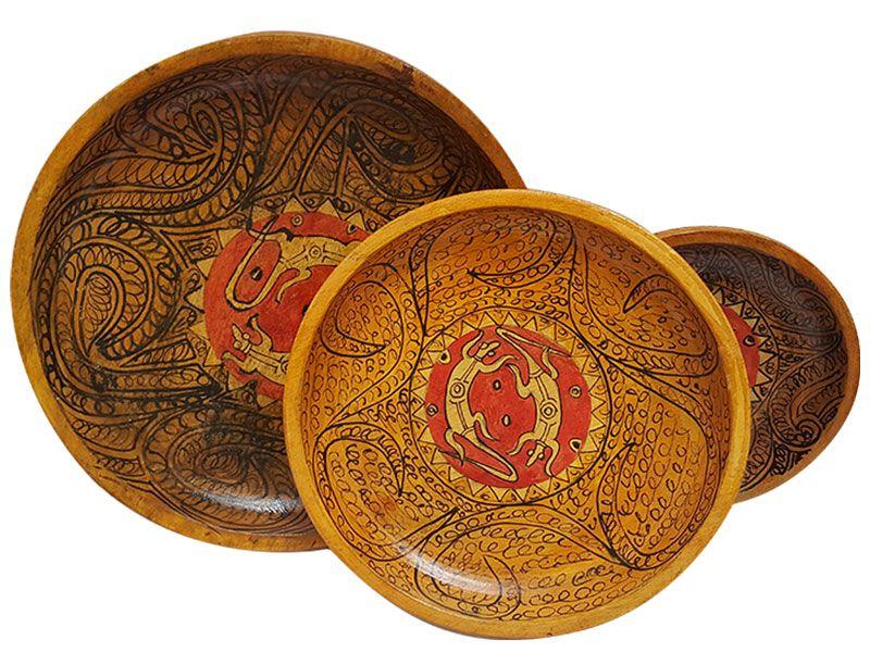Trio de cestas decorativas em madeira arte sintonia - Cestas decorativas ...