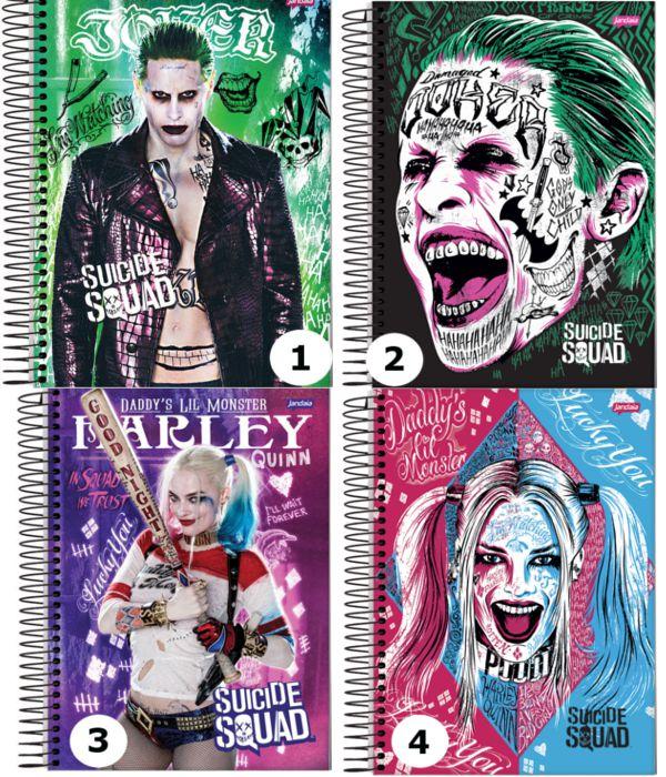 Caderno 200 folhas - Esquadrão Suicida - Harley Quinn ou Coringa