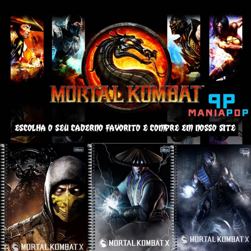 Caderno Universitário 96 fls - Mortal Kombat - Vendidos Separadamente