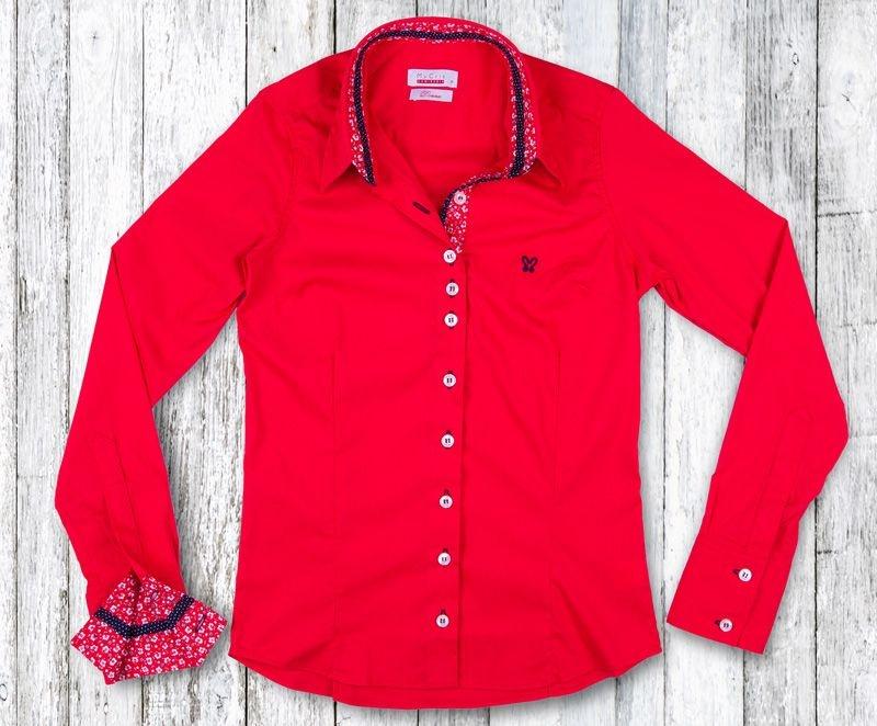 Camisa Feminina My Cris Vermelha Floral
